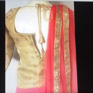 Pink gold Indian ethnic bollywood lehenga choli